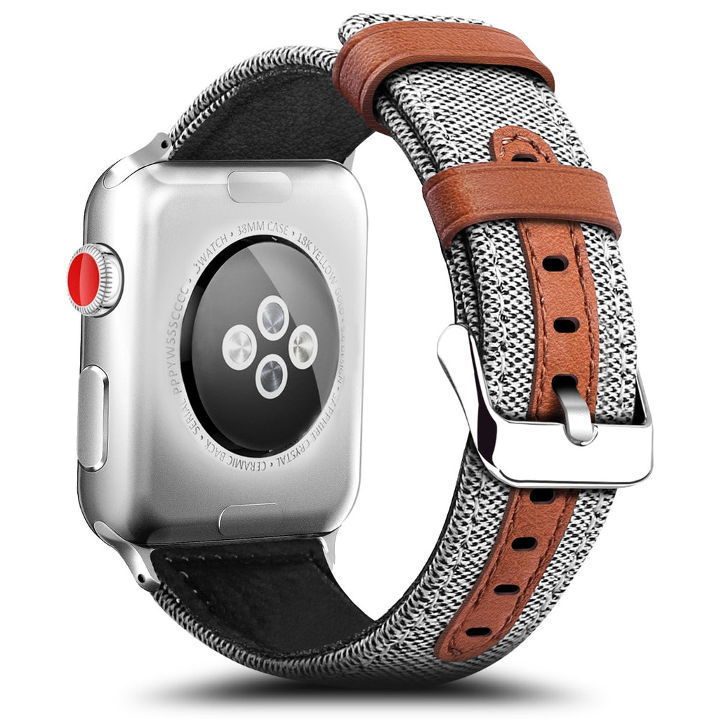 Classic Fashion Fabric and Leather Material Band for Apple Watch Series 1 2 3 4 - 38mm/40mm/42mm/44mm