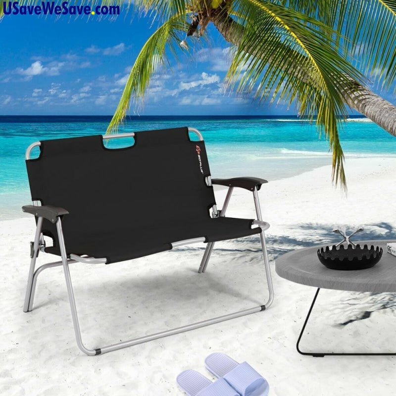 (2 Person) Folding Portable Camping Bench- Loveseat Double Chair Outdoor (Black) Furniture