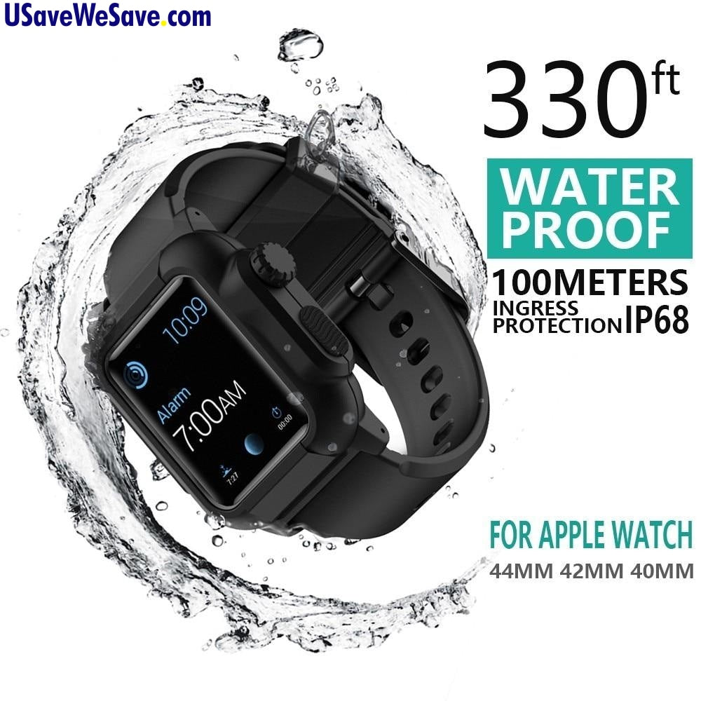 Waterproof/Shockproof Case & Silicone Band For Apple Watch Series 4 3 2 - 40mm/42mm/44mm