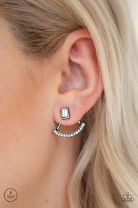 Delicate Arches - Black - Gunmetal Post Earrings - Paparazzi Accessories  A solitaire emerald-cut rhinestone attaches to a double-sided post, designed to fasten behind the ear. Radiating with a bowing row of white rhinestones, the double sided-post peeks out beneath the ear for an edgy look. Earring attaches to a standard post fitting. Sold as one pair of double-sided post earrings.