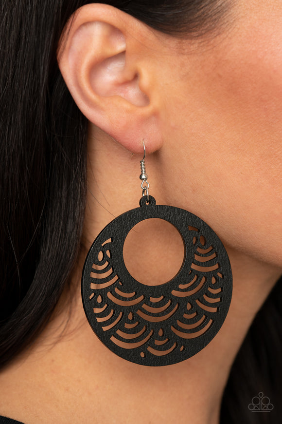 SEA Le Vie! - Black Wood Earrings - Paparazzi Accessories - Arriving 01/29/21 and will ship after that date.  Stenciled in an airy scalloped cutout pattern, a shiny black wooden frame swings from the ear for a colorful tropical inspiration. Earring attaches to a standard fishhook fitting. Sold as one pair of earrings.