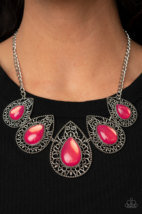 Opal Auras - Pink Opalescent & Silver Necklace and Earrings - Paparazzi Accessories