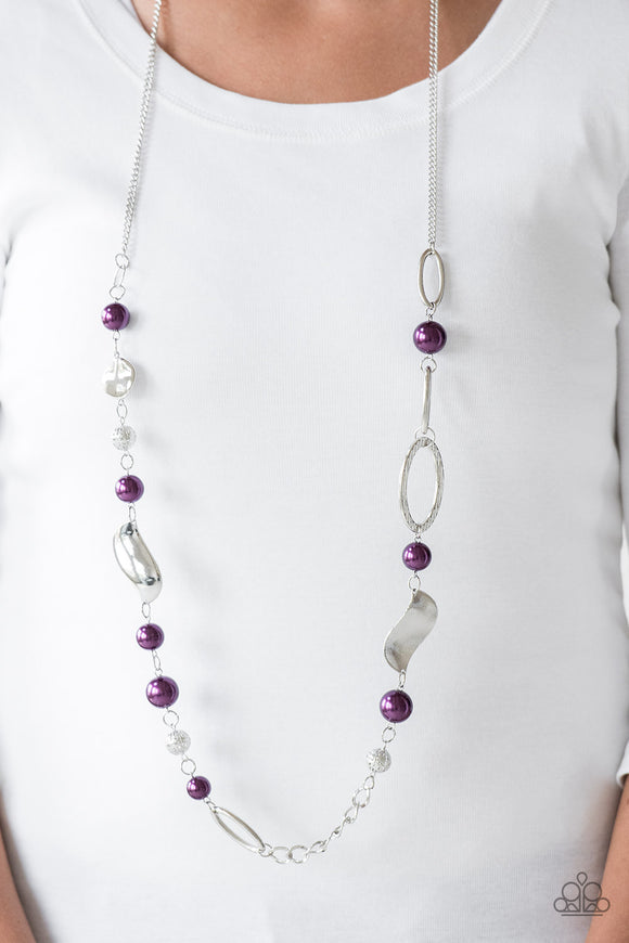 All About Me - Purple & Necklace & Earrings - Paparazzi Accessories  Oversized purple pearls, ornate silver beads, and an array of glistening silver accents trickle along a lengthened silver chain for a refined look. Features an adjustable clasp closure. Sold as one individual necklace. Includes one pair of matching earrings.