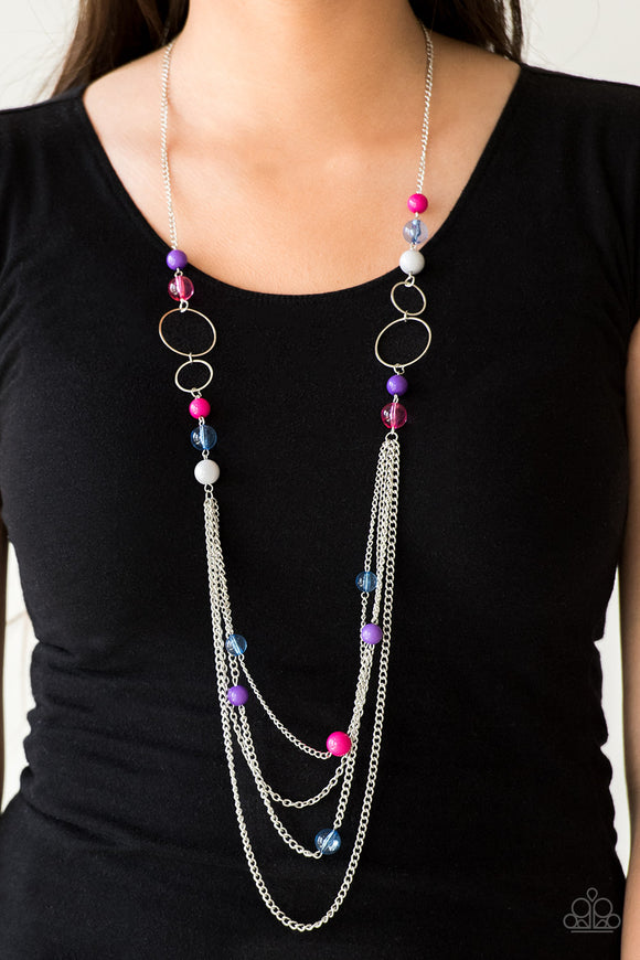 Bubbly Bright - Multi Necklace & Earrings - Paparazzi Accessories  Infused with shimmery silver hoops, glassy and polished multicolored beads trickle along glistening silver chains for a bubbly look. Features an adjustable clasp closure. Sold as one individual necklace. Includes one pair of matching earrings.