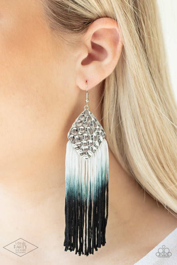 Dip In - Gray - Black Ombre - Silver Earrings - Paparazzi Accessories -   A plume of white cording gradually fades from gray to black, creating a colorful ombre effect at the bottom of a hammered silver frame. Earring attaches to a standard fishhook fitting. Sold as one pair of earrings.