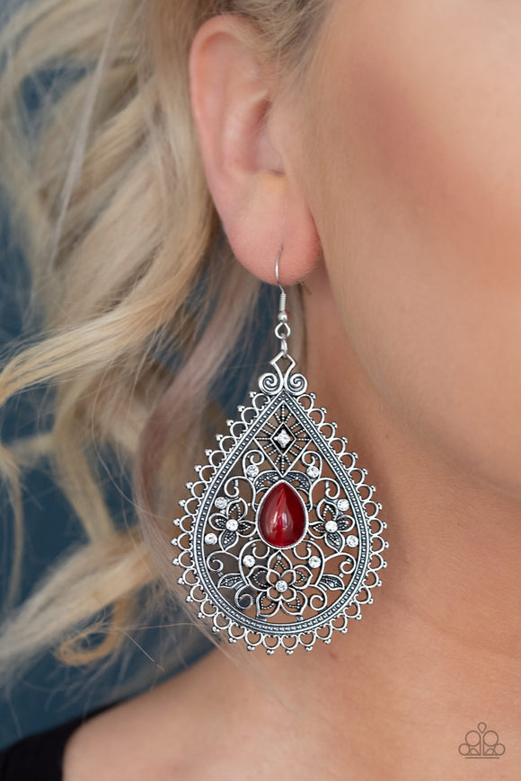 Eden Glow Red Earrings ~ Bejeweled Accessories By Kristie Featuring Paparazzi Jewelry ~ A glowing red cat's eye stone is pressed into the center of an antiqued silver teardrop swirling with floral filigree and dainty white rhinestones. Earring attaches to a standard fishhook fitting. Sold as one pair of earrings. Paparazzi Accessories are Lead & Nickel Free.