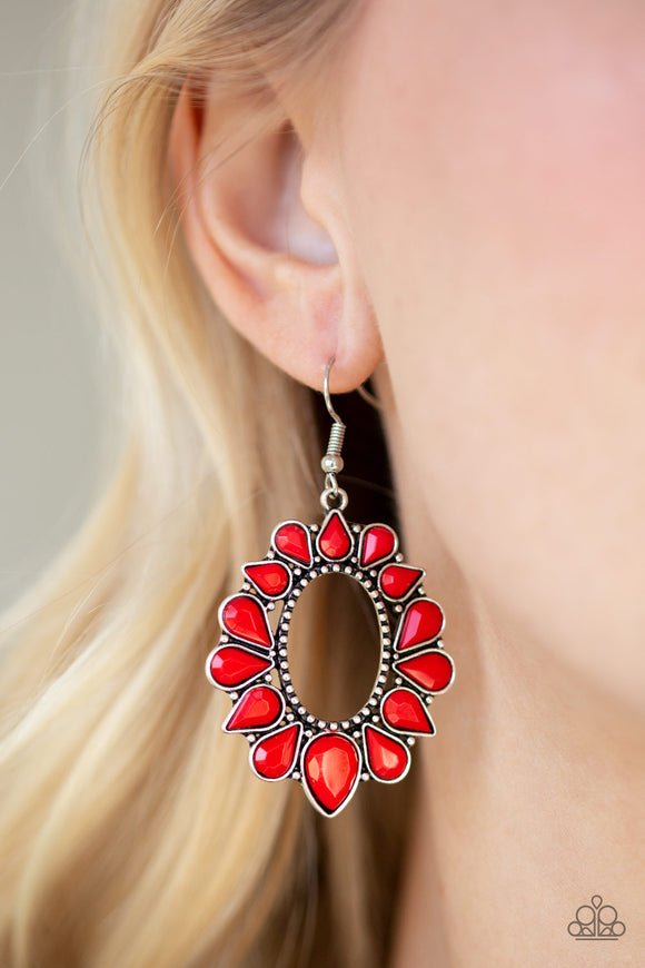 Fashionista Flavor Red Earrings - Paparazzi Accessories -  Faceted red teardrops flare from a studded silver hoop, coalescing into a flirty frame. Earring attaches to a standard fishhook fitting. Sold as one pair of earrings. Paparazzi Accessories are Lead & Nickel Free.