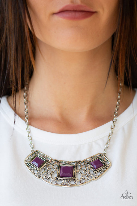 Feeling Inde-PENDANT - Purple Necklace - Paparazzi Accessories  Glistening silver filigree spins into a dramatic pendant below the collar. Square plum beads are pressed into the airy frame for a colorful finish. Features an adjustable clasp closure. Sold as one individual necklace. Includes one pair of matching earrings. Paparazzi Accessories are Lead Free and Nickel Free.