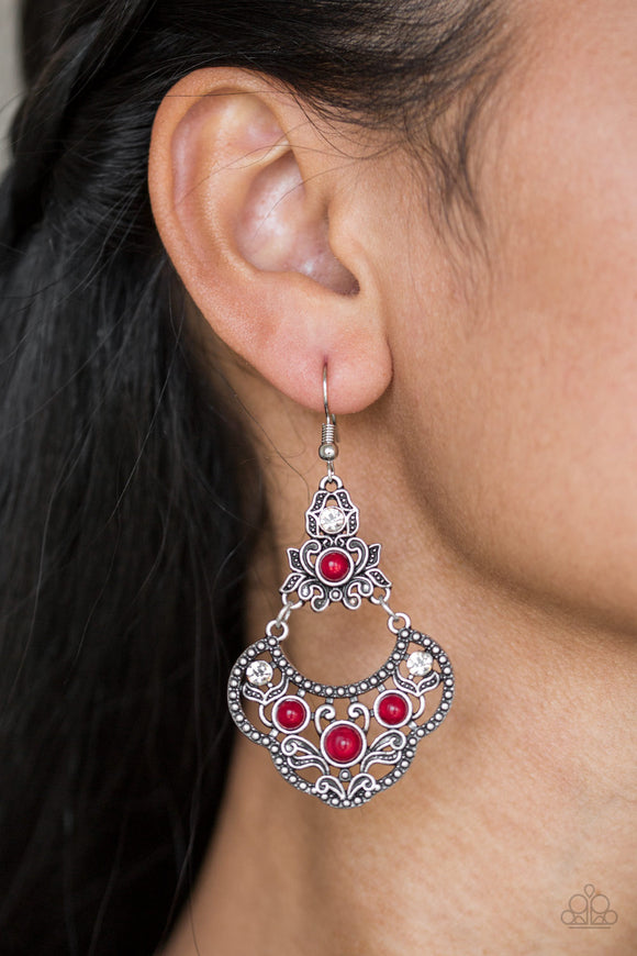 Garden State Glow - Red Earrings - Paparazzi Accessories   Glowing red beads and glittery white rhinestones are sprinkled along an ornate silver frame radiating with leafy filigree for a whimsical look. Earring attaches to a standard fishhook fitting. Sold as one pair of earrings.