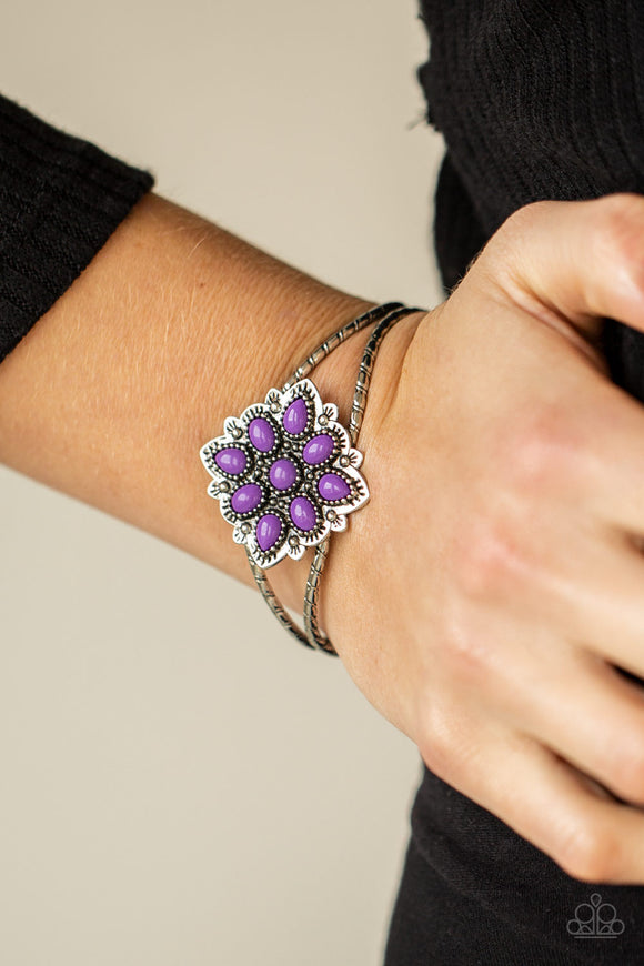 Happily Ever APPLIQUE - Purple & Silver Cuff Bracelet - Paparazzi Accessories  Purple teardrop beads embellish a decoratively studded frame atop a textured silver cuff, creating a whimsical pop of color atop the wrist. Sold as one individual bracelet.