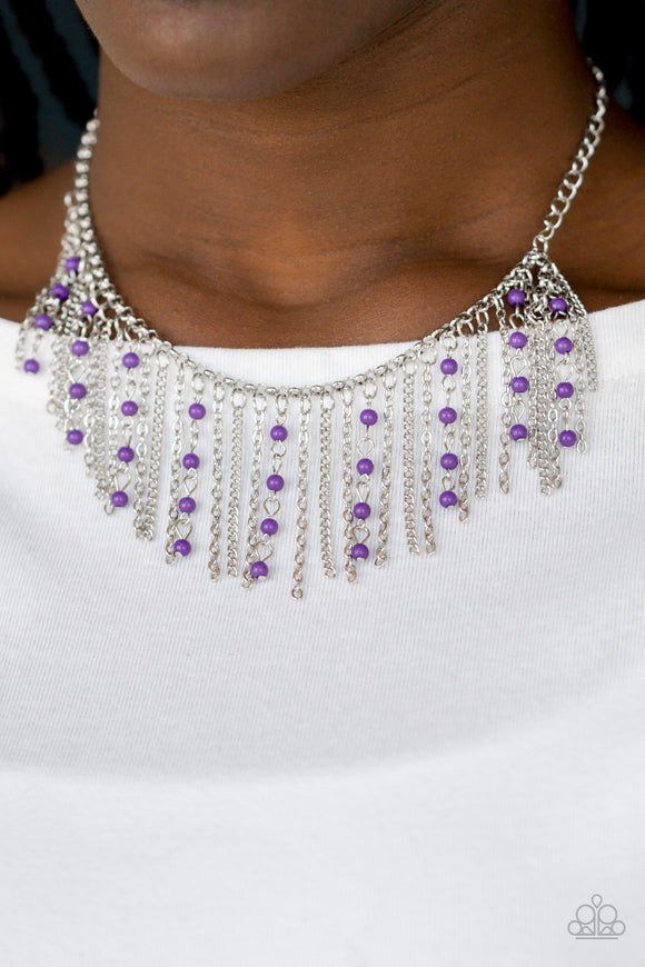 Harlem Hideaway - Purple Necklace & Earrings - Paparazzi Accessories   Infused with purple beaded tassels, shimmery silver chains stream below the collar, creating a colorful fringe. Features an adjustable clasp closure. Sold as one individual necklace. Includes one pair of matching earrings. Paparazzi Accessories are Lead & Nickel Free.
