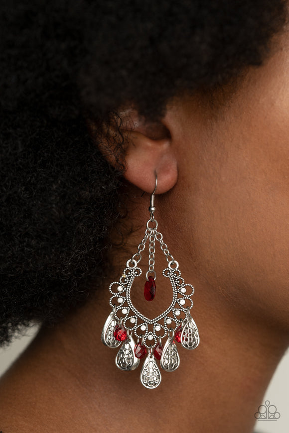 Musical Gardens - Red & Silver Earrings - Paparazzi Accessories  A collection of plain and filigree-filled silver teardrops and red crystal-like teardrops dangle from the bottom of a frilly silver frame dotted in dainty white rhinestones. A solitaire red crystal-like bead is suspended from a single chain at the top for a whimsical finish. Earring attaches to a standard fishhook fitting. Sold as one pair of earrings.