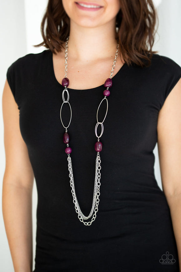 Pleasant Promenade - Purple Necklace - Paparazzi Accessories  Featuring polished and cloudy faux rock finishes, Magenta Purple beads link with bold silver hoops. The whimsical compilation gives way to layers of mismatched silver chains for a seasonal finish. Features an adjustable clasp closure. Sold as one individual necklace. Includes one pair of matching earrings.