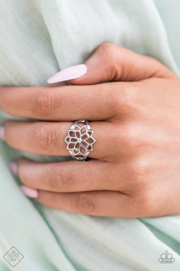 ​Prana Paradise - Silver Ring - Dainty Stretch Band - Paparazzi Accessories -  A bloom of silver petals layer one over the other with the gentle reminder to breathe deep and tap into your inner goddess. Features a dainty stretchy band for a flexible fit. Sold as one individual ring.