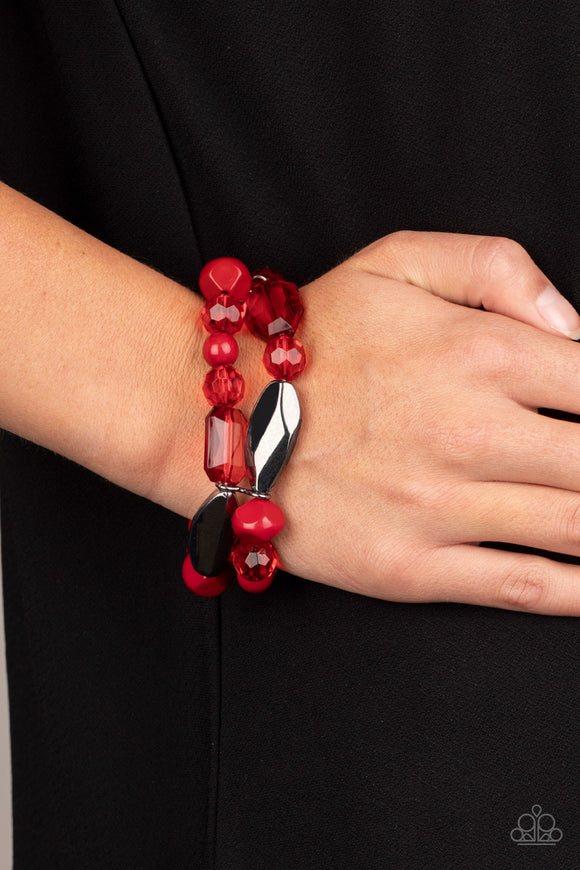 Rockin Rock Candy - Red & Gunmetal Stretchy Bracelet - Paparazzi Accessories   Mismatched gunmetal, polished red, and crystal-like beads are threaded along interlocking stretchy bands for a whimsical look. Sold as one individual bracelet.