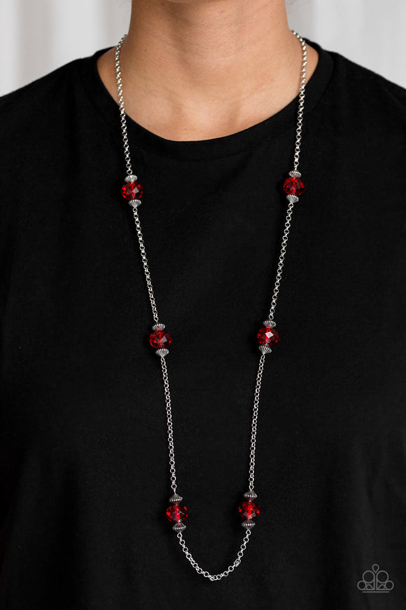 Season of Sparkle Red Necklace & Earrings - Paparazzi Accessories   Glassy red gems and ornate silver beads trickle along a glistening silver chain for a refined look. Features an adjustable clasp closure. Sold as one individual necklace. Includes one pair of matching earrings. Paparazzi Accessories are Lead & Nickel Free.