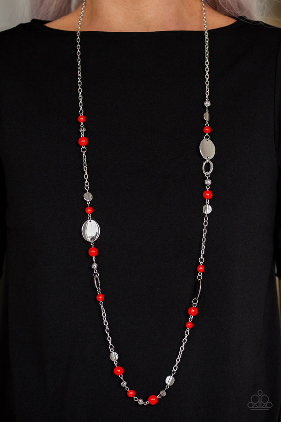 Serenely Springtime Red Necklace & Earrings - Paparazzi Accessories   An array of polished red beads, silver discs, and ornate silver accents trickles along a shimmery silver chain for a whimsical look. Features an adjustable clasp closure. Sold as one individual necklace. Includes one pair of matching earrings. Paparazzi Accessories are Lead & Nickel Free.
