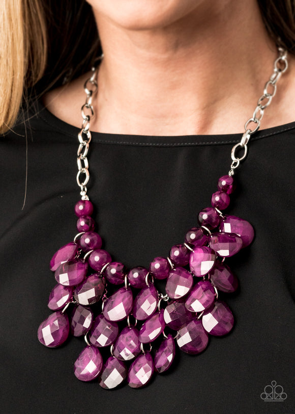 Sorry To Burst Your Bubble - Purple Necklace - Paparazzi Accessories   Attached to a bold silver chain, round opaque plum beads are threaded along an invisible wire below the collar. Attached to a net of silver chains, faceted opaque teardrops cascade from the bottom of the matching plum beads, creating a glamorous fringe. Features an adjustable clasp closure. Sold as one individual necklace. Includes one pair of matching earrings. Paparazzi Accessories are Lead & Nickel Free.
