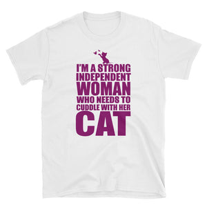 Independent Woman Cat Cuddle Funny Women's T-Shirt
