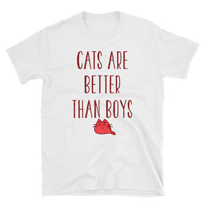Cats are Better Than Boys Funny Women's T-Shirt