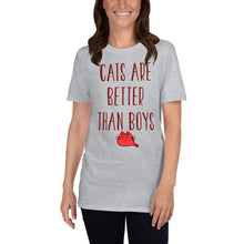 Load image into Gallery viewer, Cats are Better Than Boys Funny Women's T-Shirt