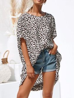 Round Neck Print Color Block Half Sleeve Long Blouse