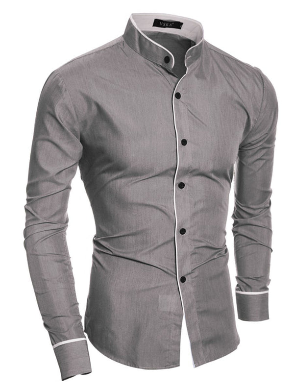 Casual Lapel Plain Fall Slim Shirt
