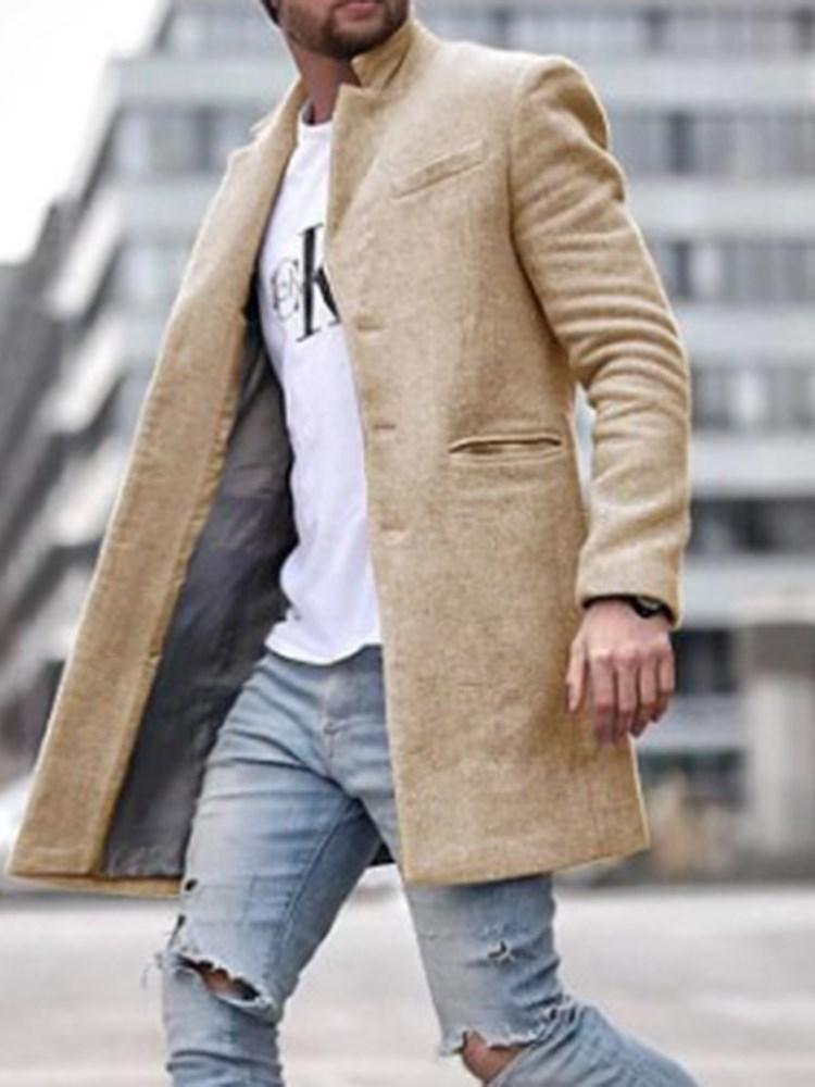 Plain Pocket Mid-Length Fashion Straight Coat