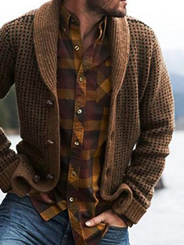 Plain Standard Button Single-Breasted Fall Sweater