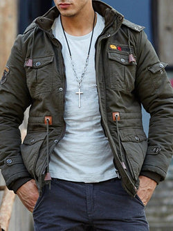 Thick Color Block Stand Collar Casual Fall Jacket
