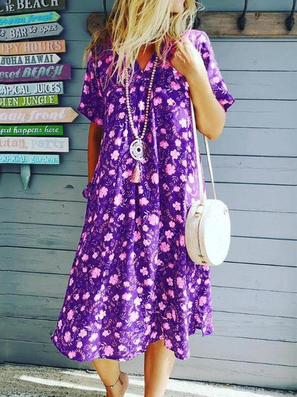 Mid-Calf Print V-Neck Pullover Floral Dress