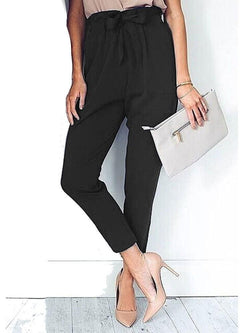 Bowknot Slim Plain Ankle Length Casual Pants