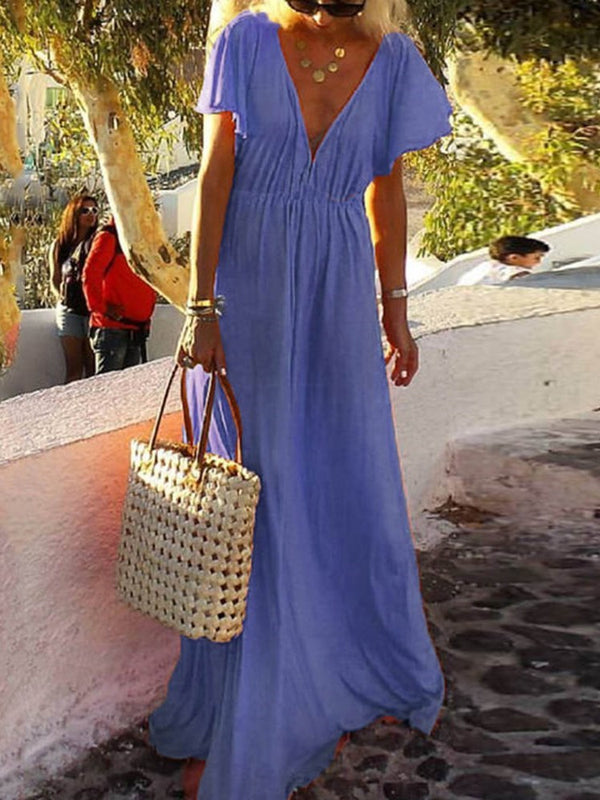 Short Sleeve V-Neck Floor-Length Plain Travel Look Dress