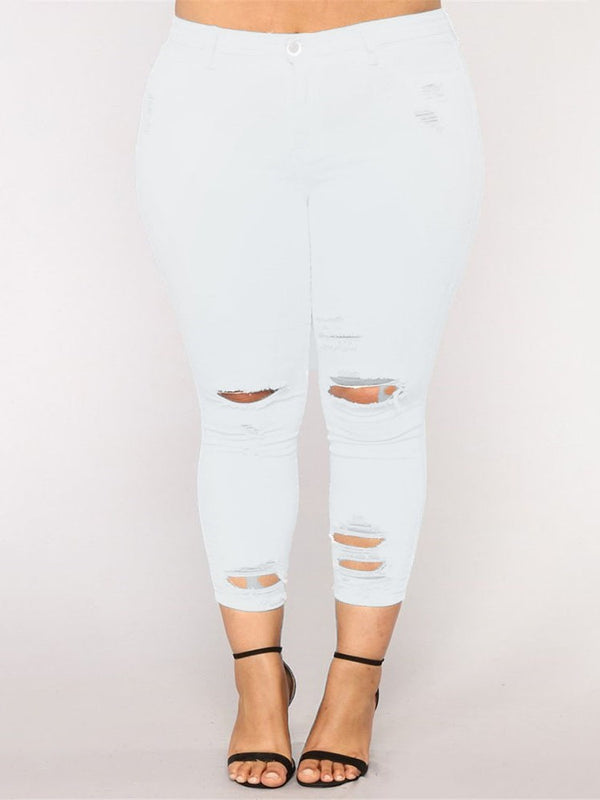 Plain Skinny Hole Mid Waist Mid-Calf Casual Pants