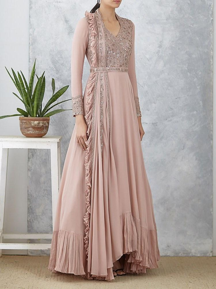 Falbala Nine Points Sleeve Floor-Length A-Line High Waist Dress