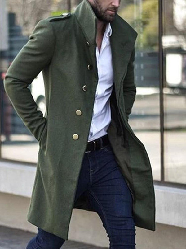 Mid-Length Lapel Button A Line Winter Coat
