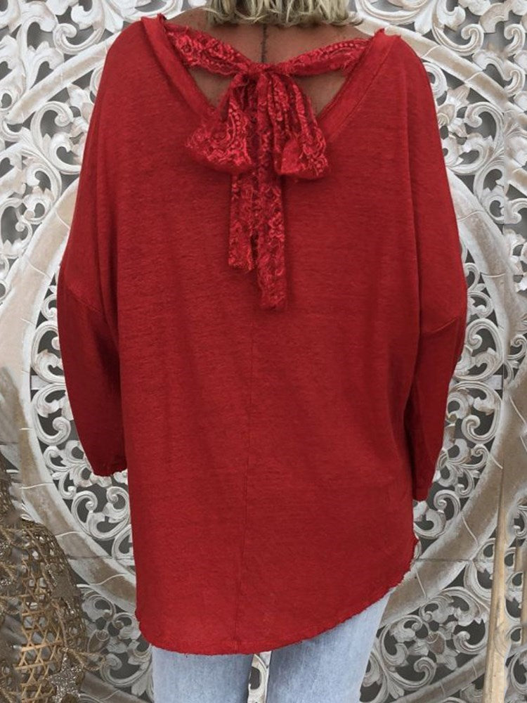 V-Neck Long Sleeve Mid-Length Fall Loose T-Shirt
