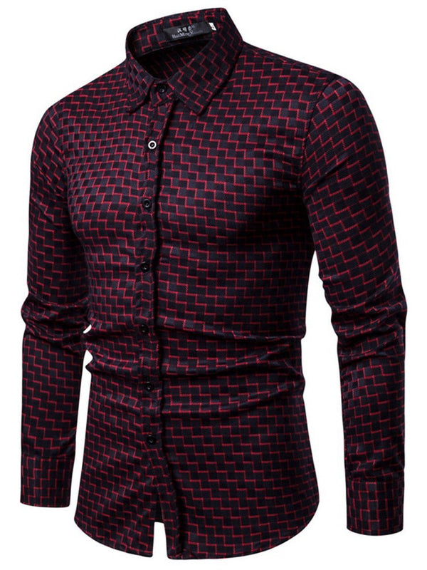 Lapel Plaid Casual Single-Breasted Slim Shirt
