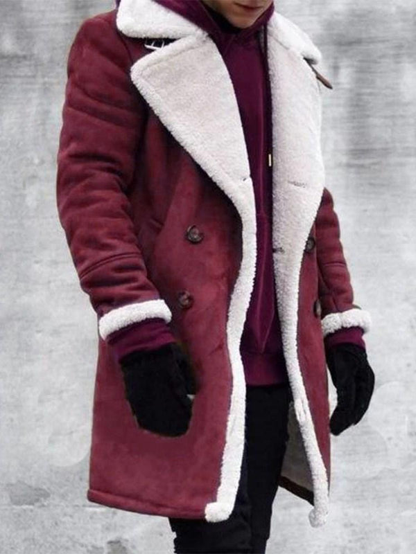 Color Block Mid-Length Button Straight Double-Breasted Coat