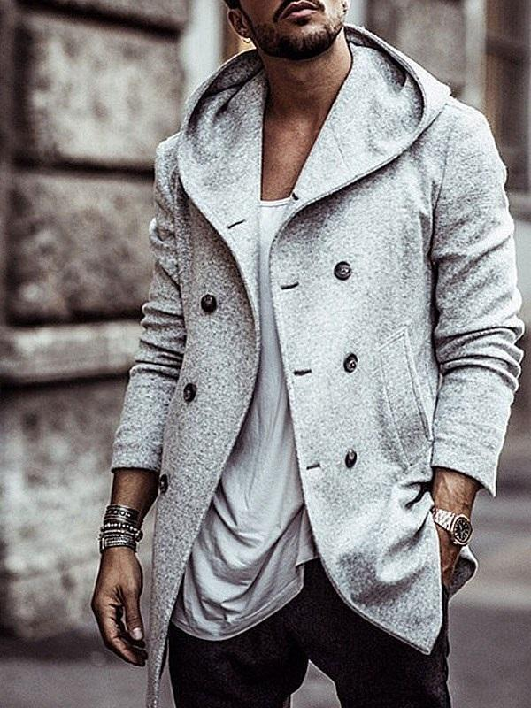 Lapel Thick Plain Double-Breasted European Jacket