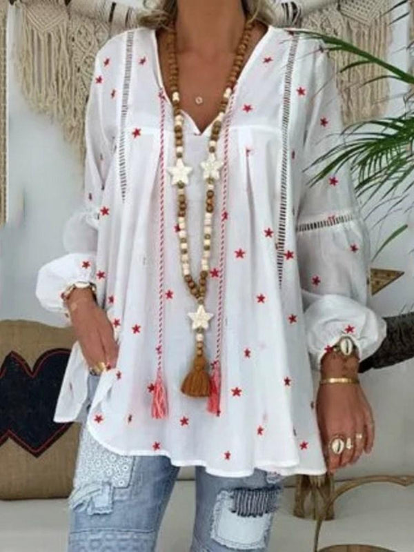Star V-Neck Print Nine Points Sleeve Mid-Length Blouse