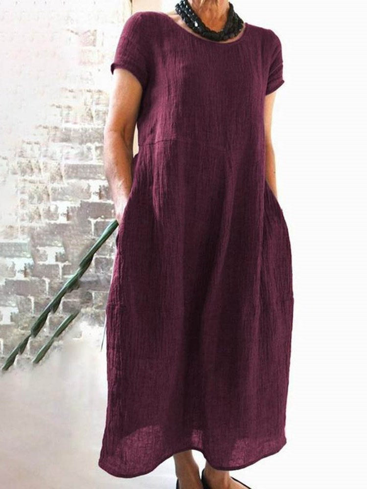 Round Neck Mid-Calf Short Sleeve Plain Casual Dress