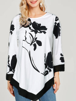Three-Quarter Sleeve Round Neck Plant Slim T-Shirt