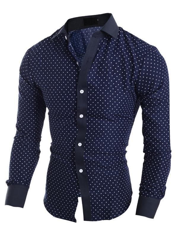 Geometric Casual Print Spring Slim Shirt