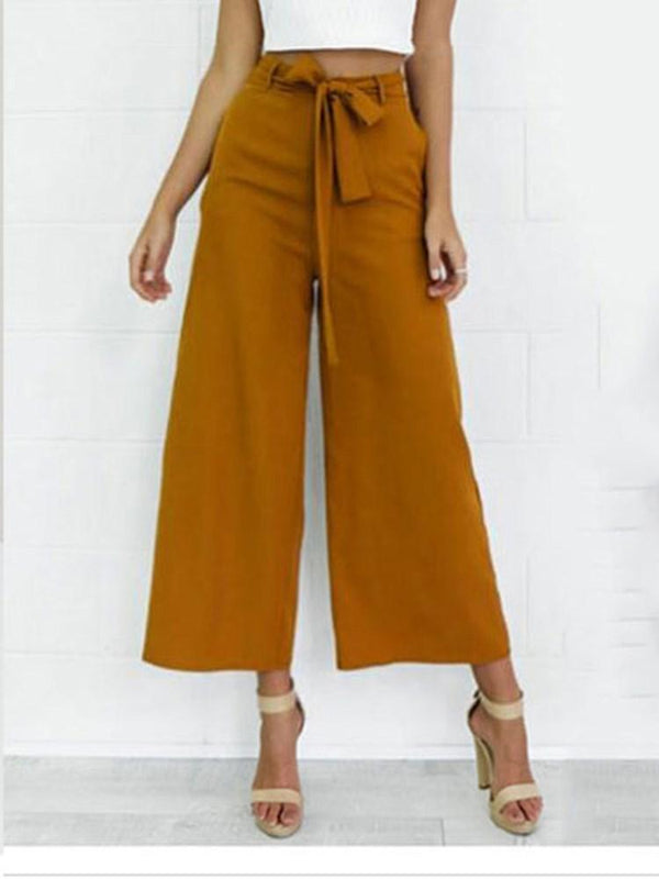 Bowknot Plain Loose Ankle Length Casual Pants