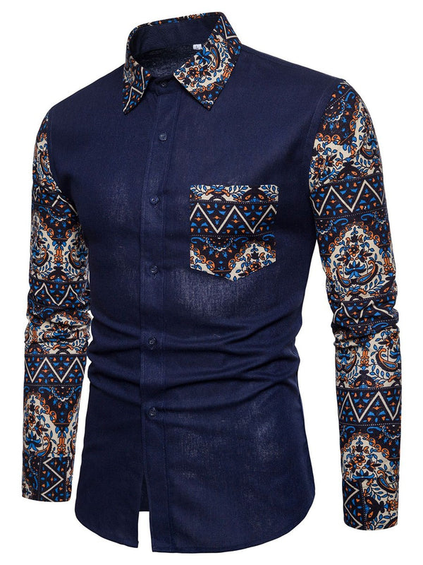 Print Lapel Color Block Single-Breasted Slim Shirt
