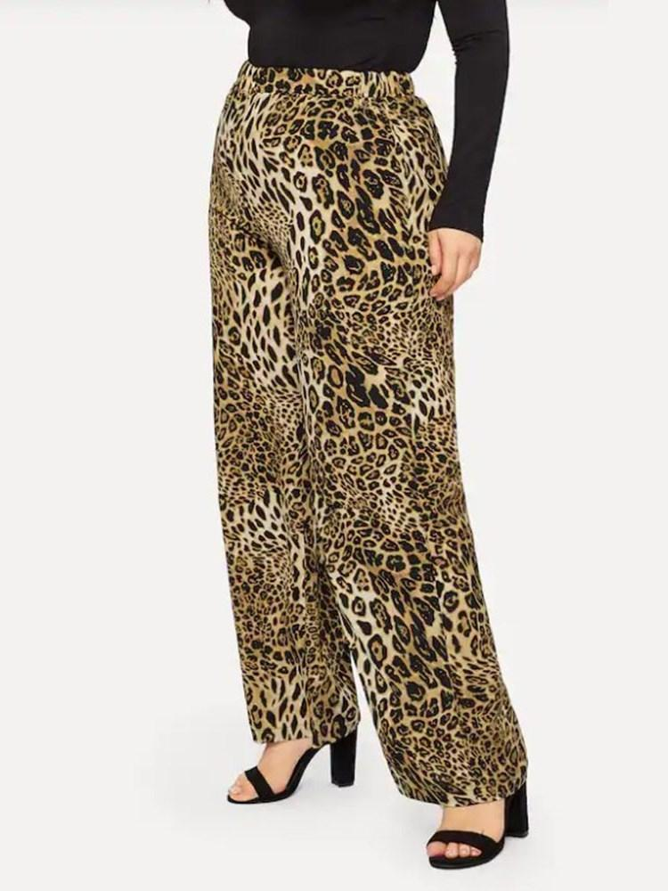 Loose Leopard Print Full Length Casual Pants