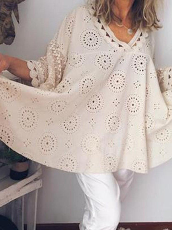 Geometric V-Neck Hollow Mid-Length Three-Quarter Sleeve Blouse