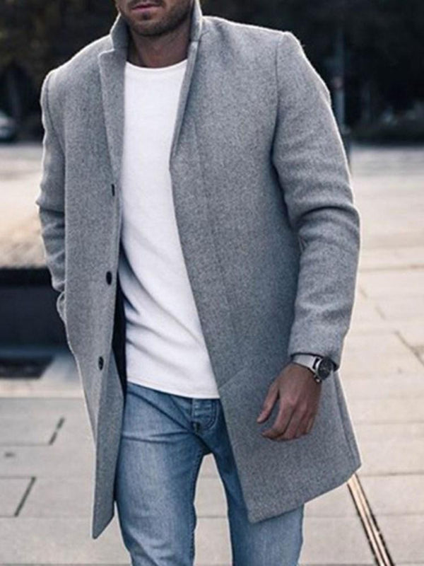 Mid-Length Plain Button Single-Breasted Casual Coat