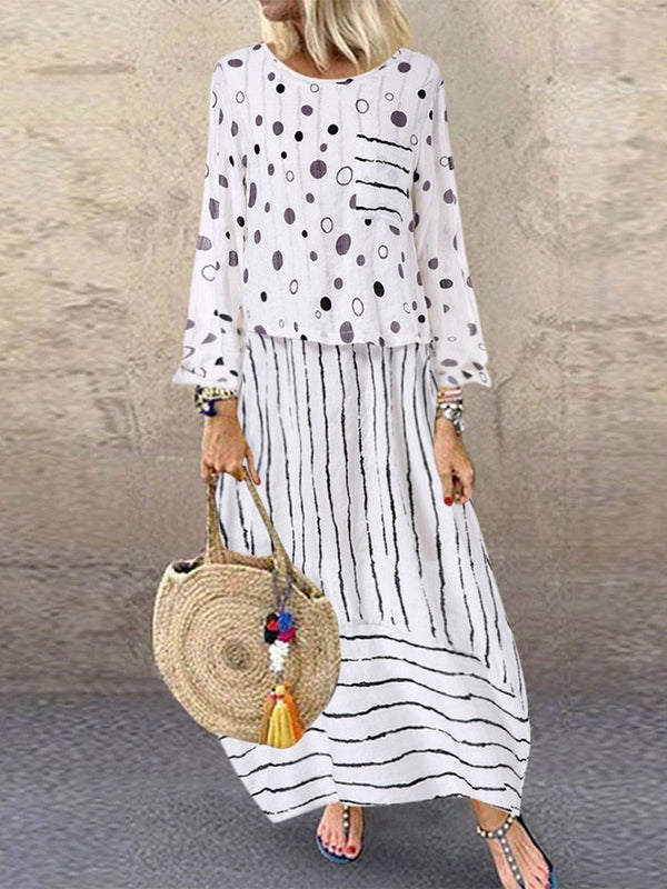 Nine Points Sleeve Print Round Neck Stripe Pullover Dress